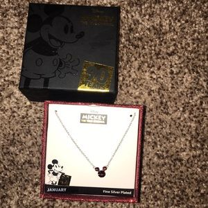 mickey mouse garnet necklace (NEVER WORN!!)